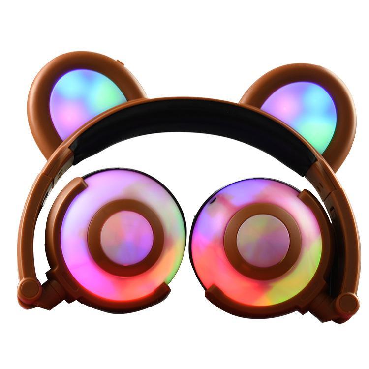 DSstyles 3.5mm Bear Ear Headphones Adjustable Glowing Light Stereo Glow Music Bass Earphones Folding Charging Ears Headset