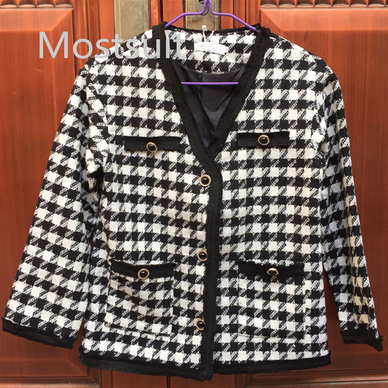 Hfd8f191dd44246179b62adcdddfc6e7ey - Houndstooth Vintage Two Piece Sets Outfits Women Autumn Cardigan Tops And Mini Skirt Suits Elegant Ladies Fashion 2 Piece Sets