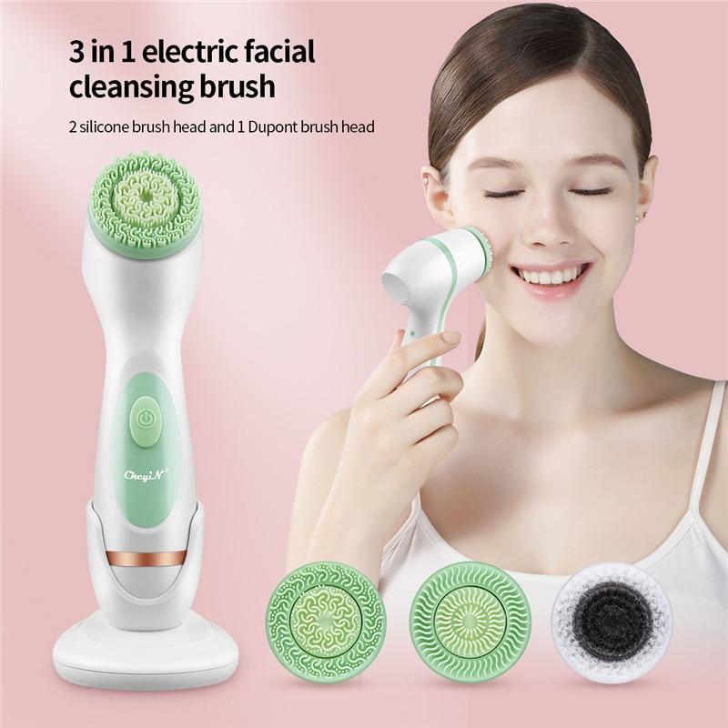 CkeyiN 3 в 1 электрическая щетка для чистки лица силиконовая вращающаяся 2