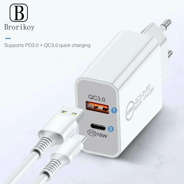 18W PD Fast Charging QC3.0 Quick Charger USB Adapter EU UK US Plug for iPhone 12 11 Pro Max Huawei Samsung USB-C Type-C Cable 2