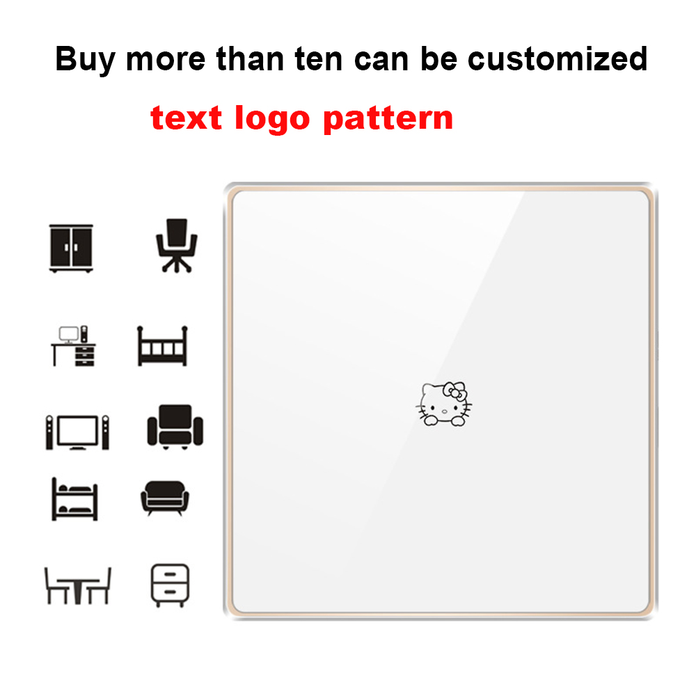 Custom pattern Wifi Touch Wall Switch,EU Standard Crystal Glass Panel Light Switch 1Gang Work With Home Alexa,Google Home