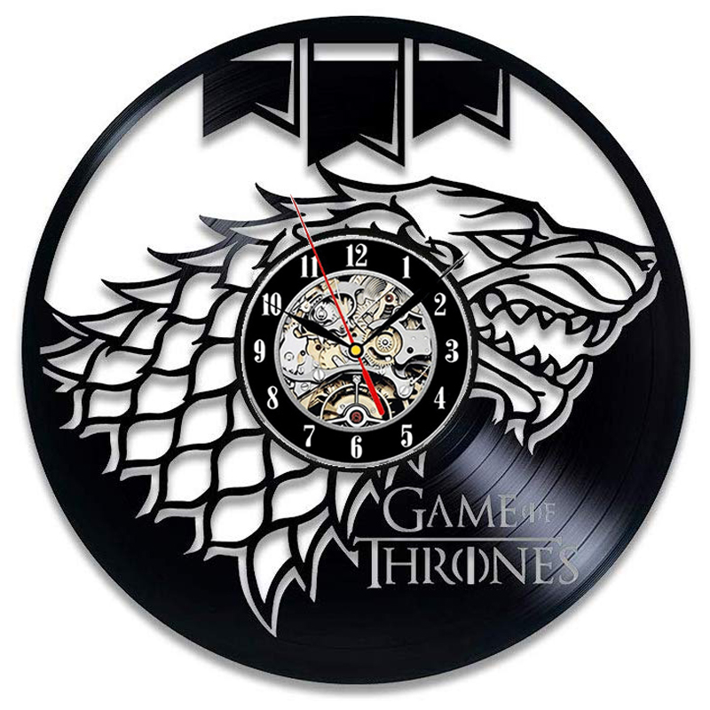 Game Of Thrones Vinyl Record Wall Clock Modern Design 3D Decoration Hanging Clock Wall Watch Art Home Decor 12 Inch