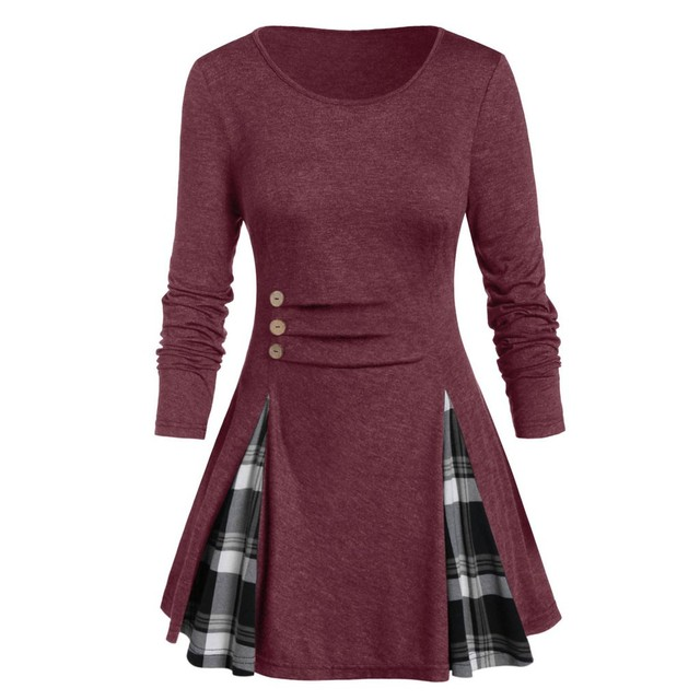 Womail Shirt Women Autumn Winter Long Sleeve Tartan Tunic Pullover Tops Irregular Plaid Print Pullover Blusas Feminina Plus Size 4