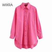 Camicie di cotone primavera donna Wixra manica lunga elegante Streetwear camicetta lunga chictop estate nuovo caldo