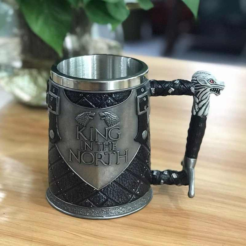 king in the north Stainless Steel Resin 3D Beer retro  Mug Goblet Game of Thrones Tankard Coffee Cup Wine Glass Mugs BEST GOT