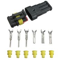 One Set Best Price Car Auto 3 Pin Way Sealed Waterproof Electrical Wire Connector Plug Set Truck Caravan|Connectors| |  -