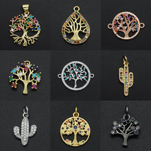 2020 Diy Flowers CZ Charms Wholesale Cactus Necklace Pendant Zircon Tree of Life Connector For Jewelry Bracelet Making