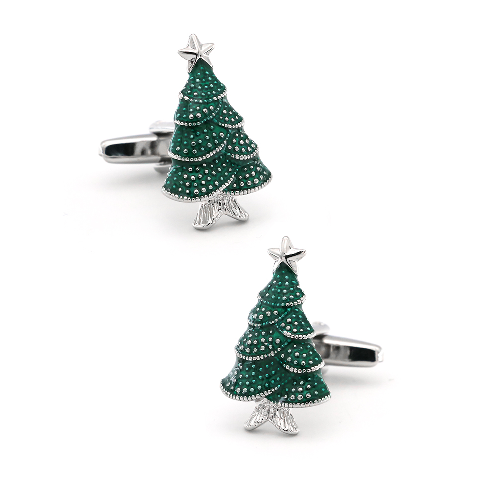 IGame New Arrival Christmas Tree Cuff Links Blue Color Fashion Design Quality Brass Material Fashion Cufflinks Free Shipping