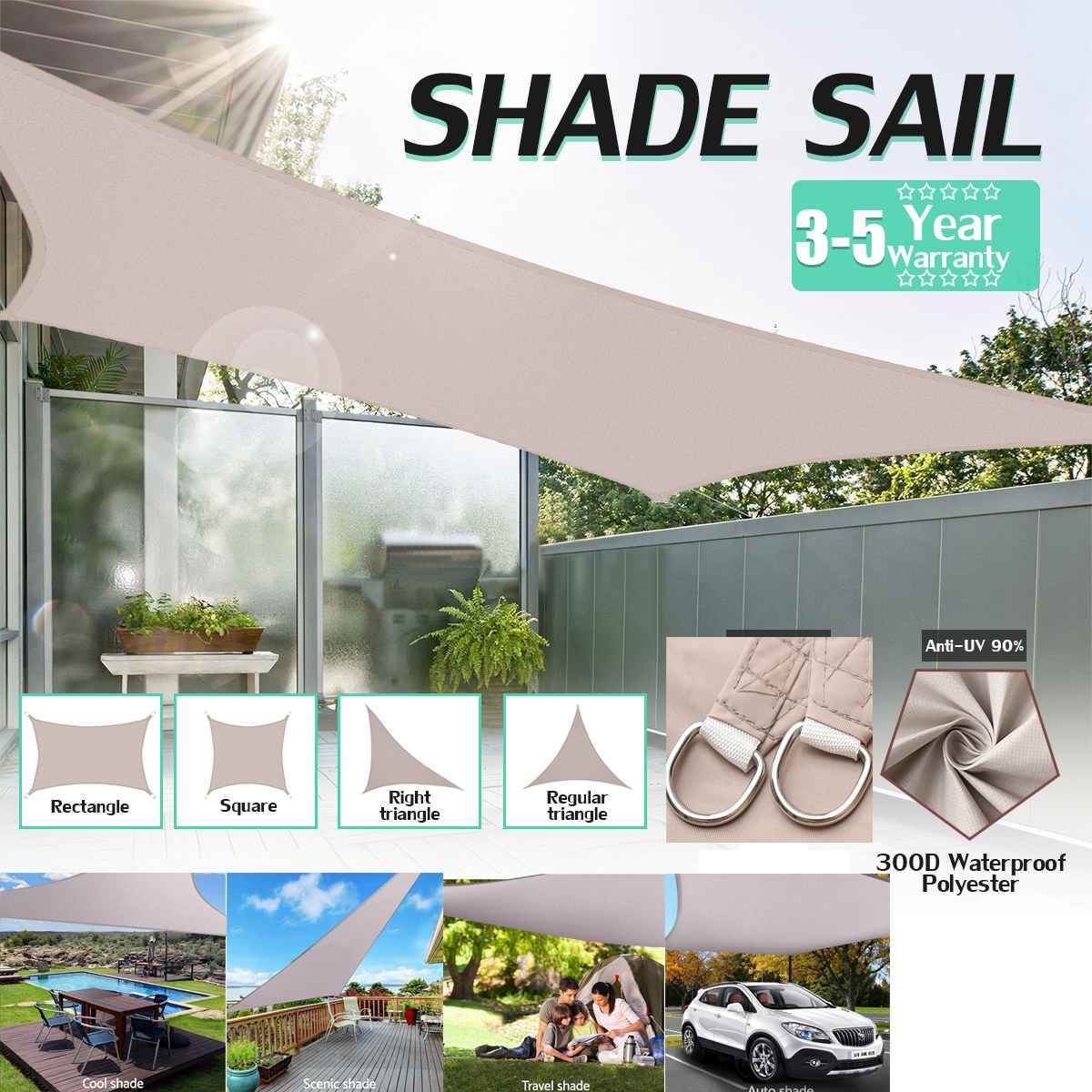 High Quality Sun Sail Shade Patio Awning Canopy Sunscreen 6x4.2x4.2m Dark Grey