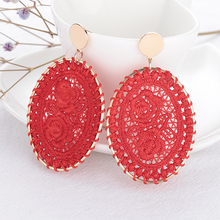 Metal Frame Knitted Embroidered Rose Flower Earrings Round Geometric Drop Bohemian Wedding Bridal Jewelry Accessories