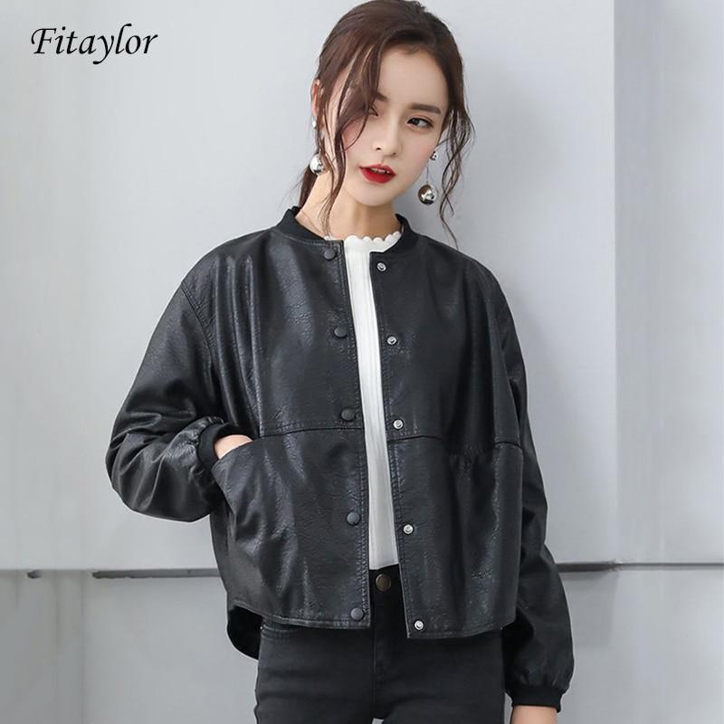 Fitaylor 2020 Women Faux Soft Leather Motorcycle Jacket Short Pu Leather Baseball Uniform Coat Single Breasted Black Overcoat