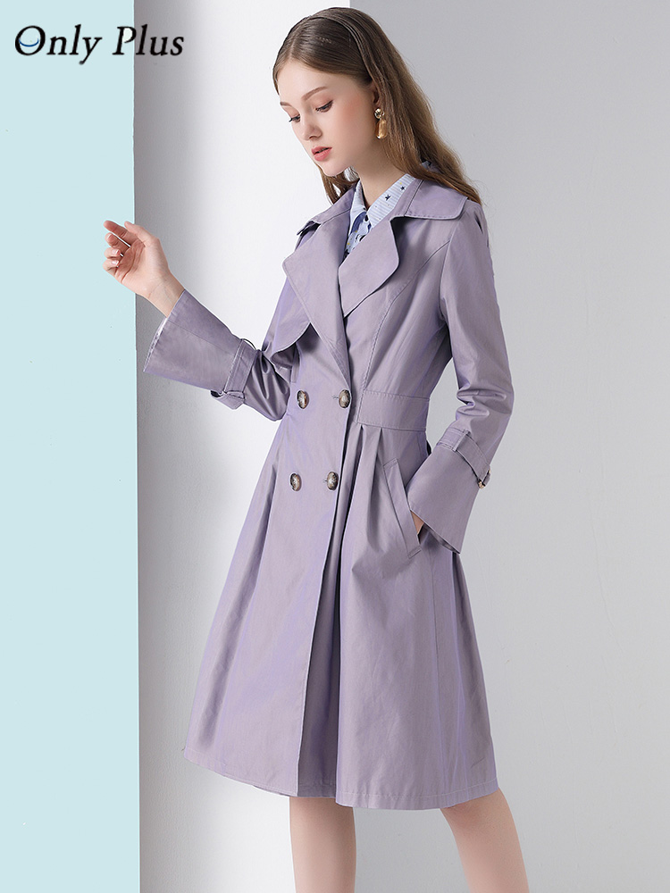 Only Plus Women's Spring Windbreaker Casual Fashion Purple Trench Coat Pockets Slim Outwear Quality Brand Women Clothing