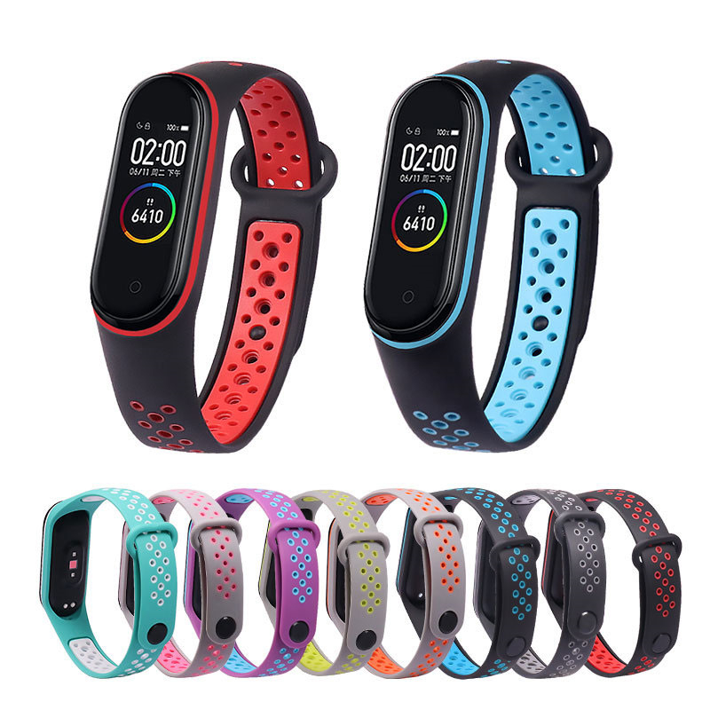GEBER Silicone Strap For Xiaomi Mi Band 3 4 Breathable Straps Replacement M3 M4 Plus Bracelet For MiBand 3 4 Smart Watch Wrist