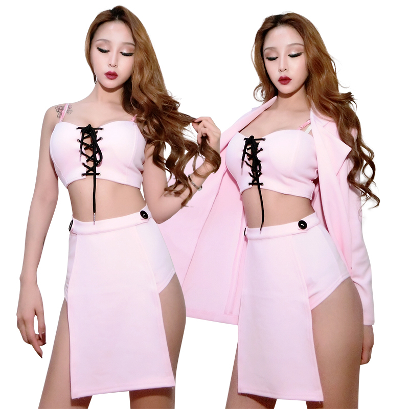 New Nightclub Bar DS DJ Stage Costumes Pink Sexy Outfits For Women Jazz Hip Hop Costume Pole Dance Clothing Rave Wear  DQS2652