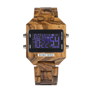 Image 5 - Часы наручные BOBO BIRD мужские электронные, многофункциональные светодиодные брендовые цветные цифровые с деревянным ремешком, с бамбуковой коробкой, с отображением даты