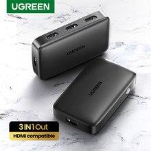 Выключатель UGREEN 4K HDMI 3 в 1, сплиттер для Xiaomi Mi Box 4k @ 30Hz, для Nintendo Switch PS4 с ИК-пультом дистанционного управления
