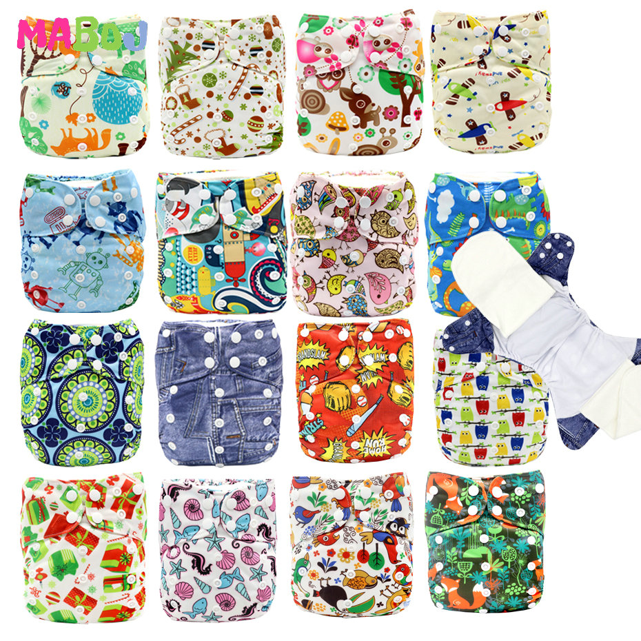 MABOJ AIO Diaper AIO Baby Cloth Diaper Bamboo Insert Nappy All In One Newborn Breathable  Reusable Diapers Nappies One Size Fit