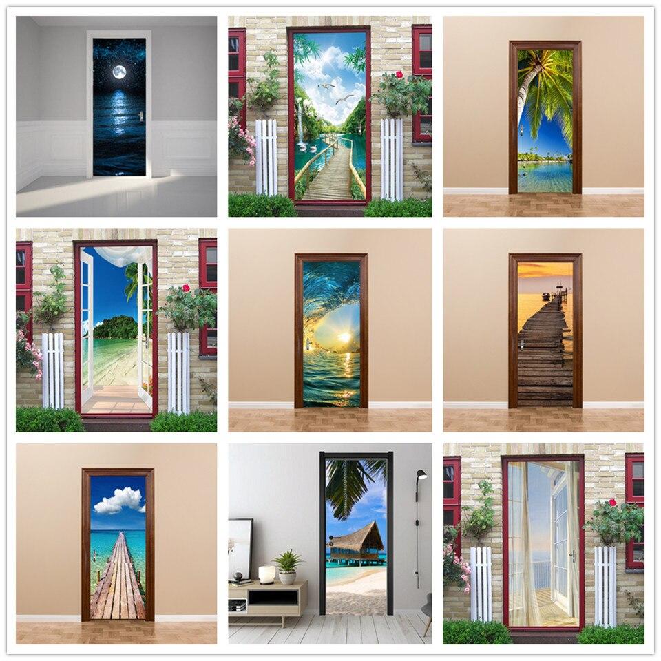 Natural Scenery Door Sticker Vinyl Peel And Stick Wallpaper Beach Decals DIY Removable Poster Bedroom Home Decor Adesivo Porta