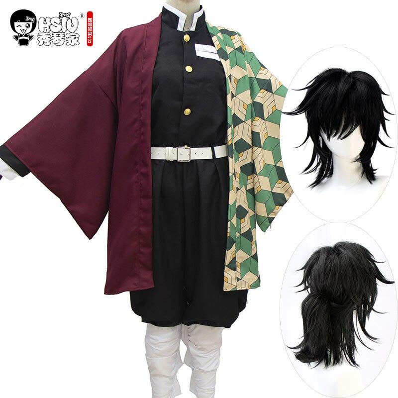 HSIU Tomioka Giyuu Anime Cosplay Costume Wig Demon Slayer: Kimetsu No Yaiba Kimono Uniforms Cloak Halloween Black Synthetic Hair