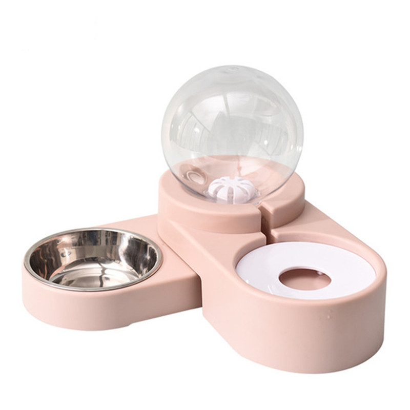 Bubble Pet Bowls Food Automatic Feeder Fountain Water Drinking Two Large Bowl Feeding Container for Dog Kitten Cat Supplies image