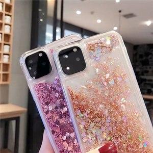 Image 2 - Para iPhone 11 pro max funda de teléfono con purpurina arena líquida arenas movedizas estrella funda de teléfono suave de silicona para Xs max X 6 7 8 Plus