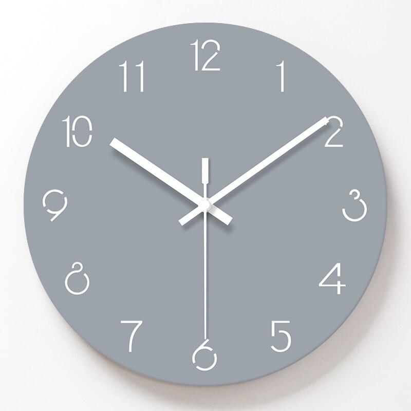 Simple Decorative Wall Clocks Acrylic Gray Color Wall Clock Living Room Mute Quartz Hanging Clock Modern Design Home Decor