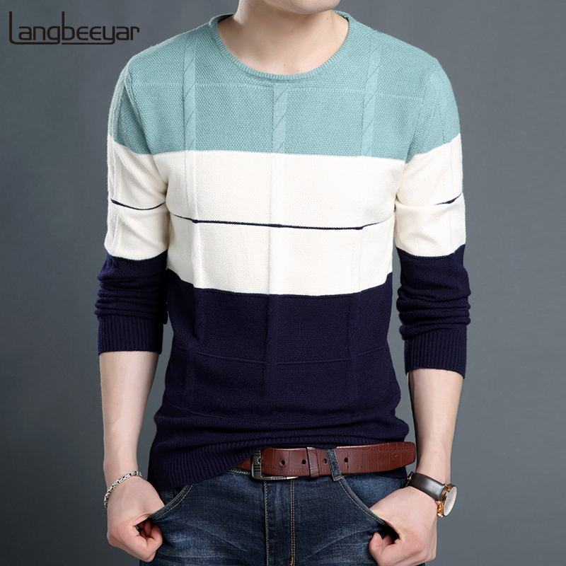 2019 New Fashion Brand Sweaters Men Pullover O-Neck Slim Fit Jumpers Knitting Woolen Winter Korean Style Casual Men Clothes