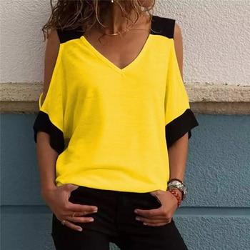 Women's Patchwork Cold Shoulder T-shirt 5XL Plus Size Tops V-Neck Half Sleeve Female Tee Shirt Summer Casual T Shirt For Women цена 2017
