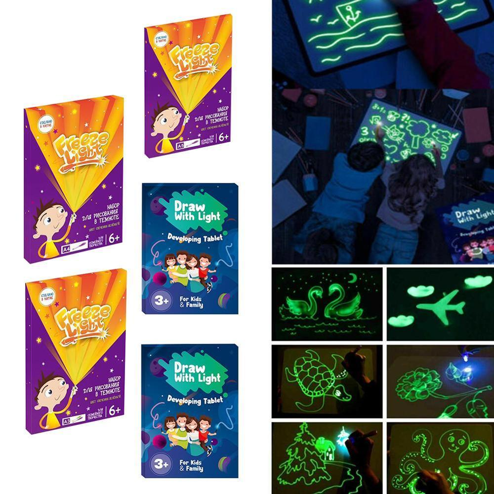 Children Painting Board Luminous Fluorescent Drawing With Light Fun  Glowing Graffiti Board 3d Drawing Toys Kids Gift