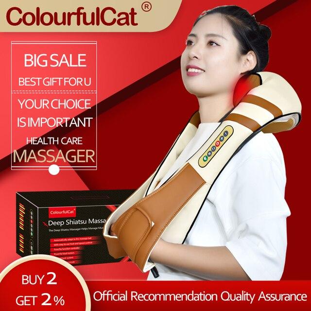 4D Electrical Shiatsu kneading Massage Body Neck and Back Massager Infrared Car Home Best Gift Health Care Massageador Massagem