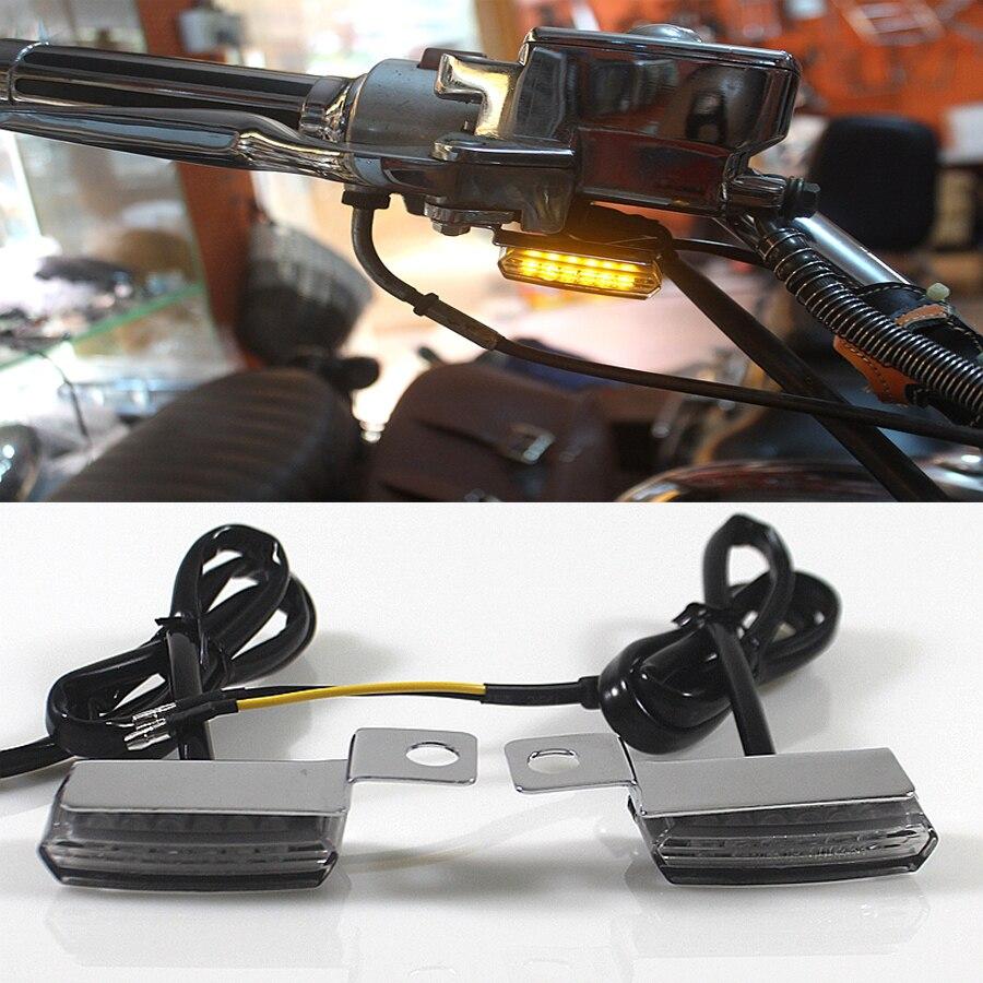 2PCS Universal Mini LED Motorcycle Brake Clutch Lever Lamp Chrome Turn Signal Light For Harley Davidson Cafe Racer Choppers