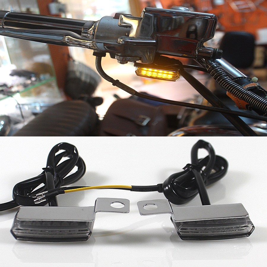 2PCS Universal Mini LED Motorcycle Brake Clutch Lever Lamp Turn Signal Light For Harley Davidson Cafe Racer Choppers