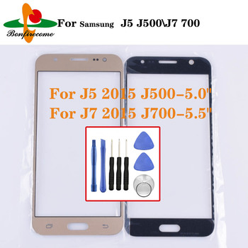 For Samsung Galaxy J5 2015 J500 J500H Front Touch screen Panel LCD Out Glass Cover Lens For Galaxy J7 2015 J700 SM-J700F J700H image