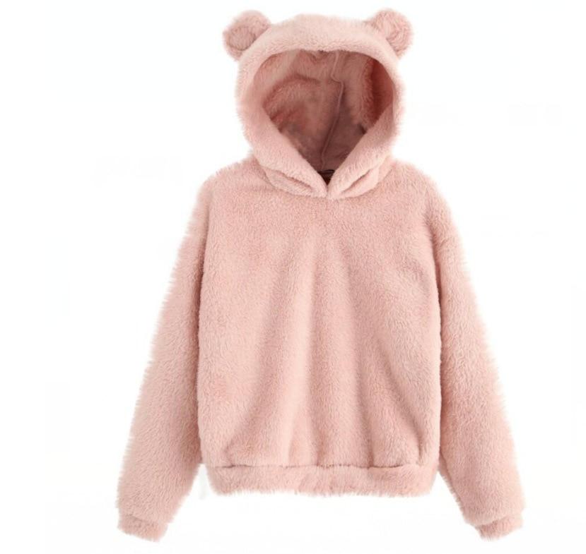 Lovely Fleece Animal Hoodies Women Sweatshirt Long Sleeve Warm Bear Ear Hooded Plush Hoody Pullover Lady Winter Tops 6
