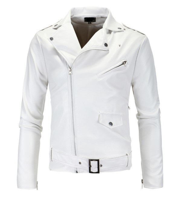 Hot Selling Men Locomotive Slim Fit Leather Coat Stand Collar Tailor Oblique Zipper White Leather Coat Leather Jacket Py12