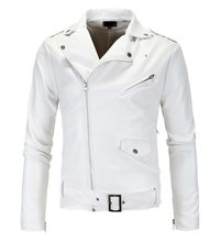 Purchase Hot Selling Men Locomotive Slim Fit Leather Coat Stand Collar Tailor Oblique Zipper White Leather Coat Leather Jacket Py12 save