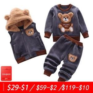 Sweater Suit Three-Piece Warm Baby-Girl Winter Bear Cartoon Cute Pure-Cotton Autumn Thick