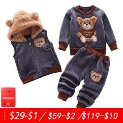 Одежда для маленьких мальчиков осень-зима из чистого хлопка толстый теплый Повседневный свитер с капюшоном мультяшный милый медведь костю...