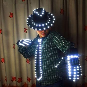 цена на LED Costume Clothes LED luminous jazz Hat With Llight Tie LED gloves LED Suit For Michael jacket Cosplay Costume