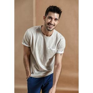 Image 3 - SIMWOOD Camiseta de verano con bolsillo en el pecho para hombre, camiseta de manga corta vintage Melange, camisetas de algodón 2020, novedad de verano de 100%