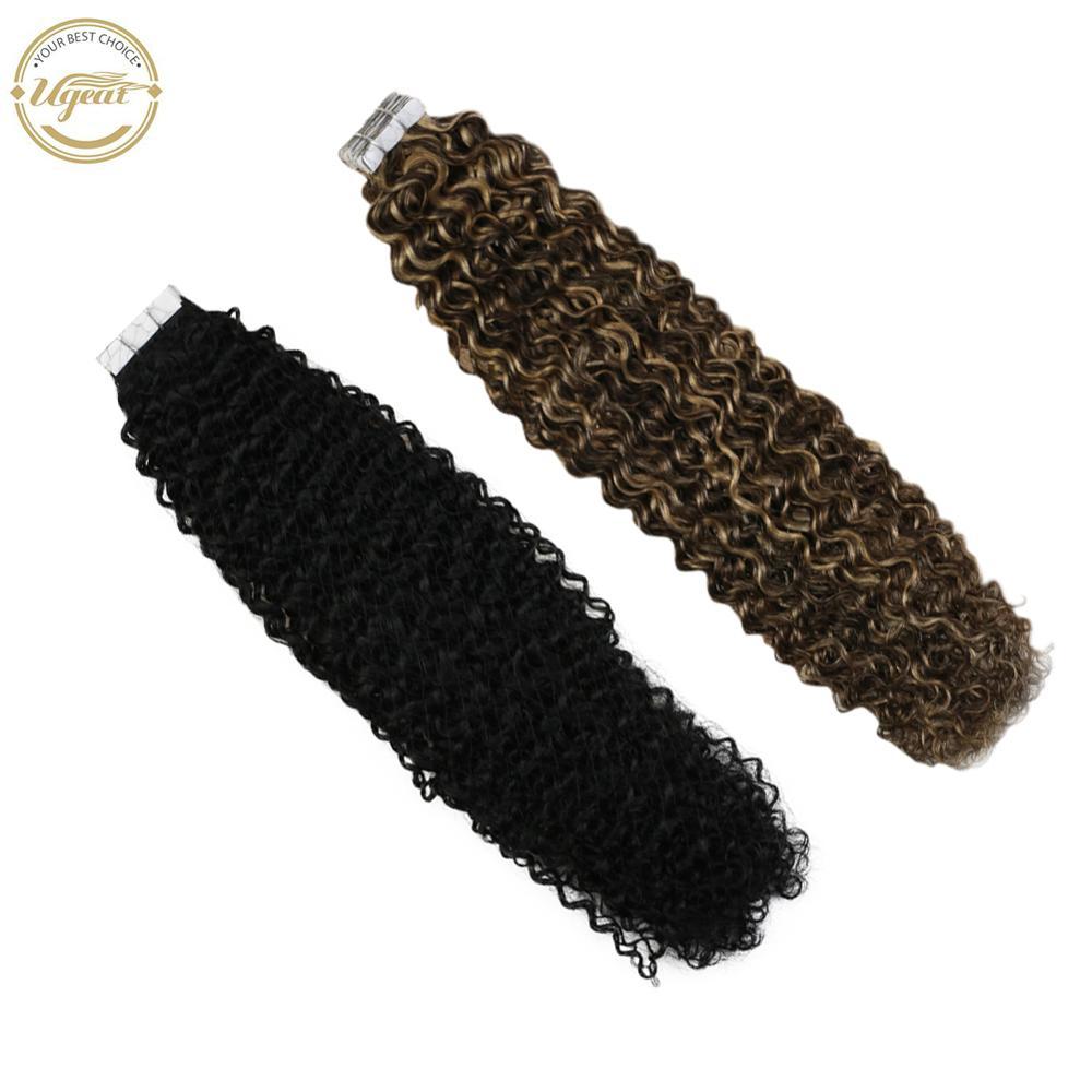 Ugeat fita na extensão do cabelo kinky encaracolado cabelo 14-24 polegada máquina remy real cabelo humano trama da pele macia cabelo 2.5 g/pçs 50g/20 peças