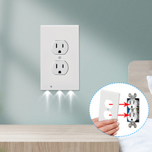 5pcs Night Light Ambient Light Sensor Duplex High quality Durable Convenient Outlet Cover Wall Plate With Led Night Lights
