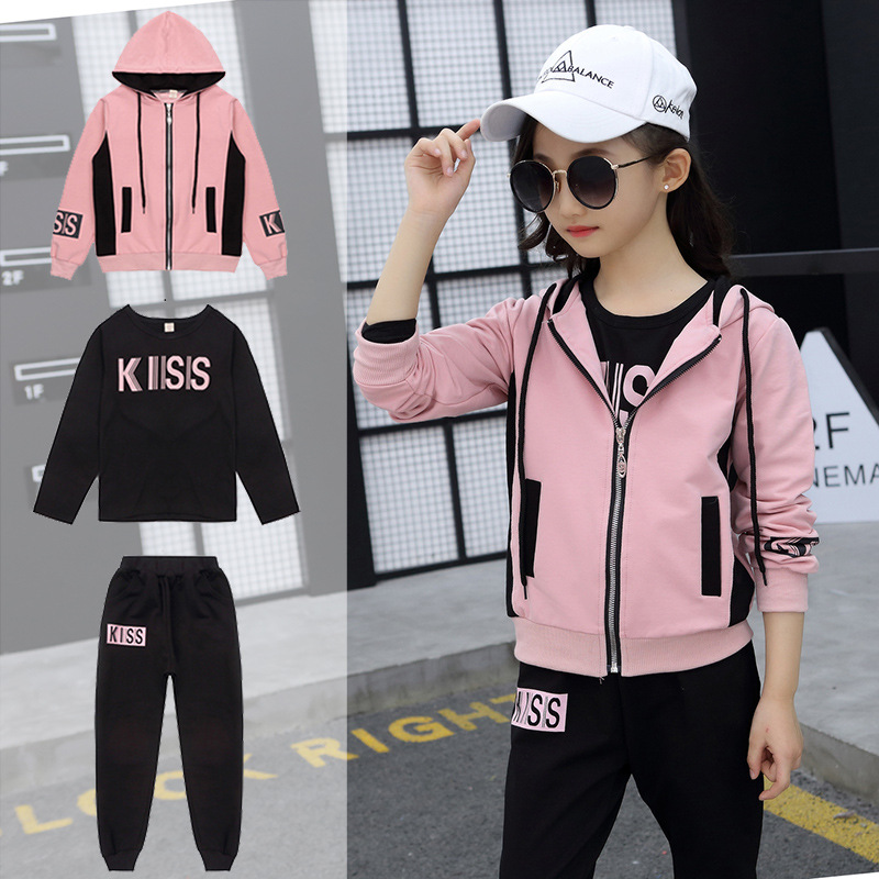 Clothing Set Girls Clothes Jacket  Letter Zipper Kids Hoodies Pants Kids Tracksuit For Girls Clothing Sets Sport Suit 19 Spring