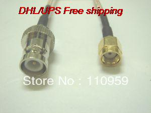 DHL/EMS 100 Pcs RP BNC Female To RP SMA Male Straight Pigtail RG316-A2