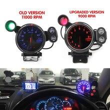 Nova versão atualizada 9000 RPM 11000 RPM 80mm LED tacômetro tacômetro instrumento reformado com lâmpada de alarme de carro de corrida