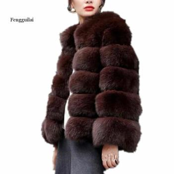New Fashion fluffy faux fur coat Jacket women furry fake fur winter Jacket outerwear party Fox fur Coat overcoat duoupa 2019 new fashion faux fur grain velvet coat coat long loose fur one coat faux fur large size women s fur windbreaker jack
