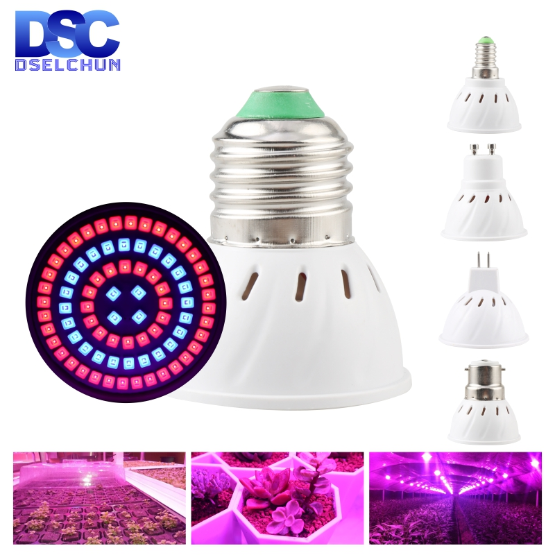 Led Grow Light Bulb E27 E14 GU10 MR16 B22 220V Growing Lamp 3w 4w 5w Full Spectrum For Flower Plant Hydroponics System Aquarium