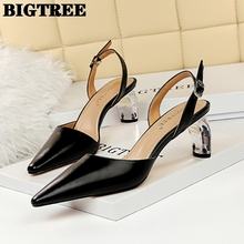 BIGTREE Korean Fashion Sexy Club Transparent Shui Jing Gen High-Heeled Sandals in Her Tip Hollowed-out after Strappy Sandals