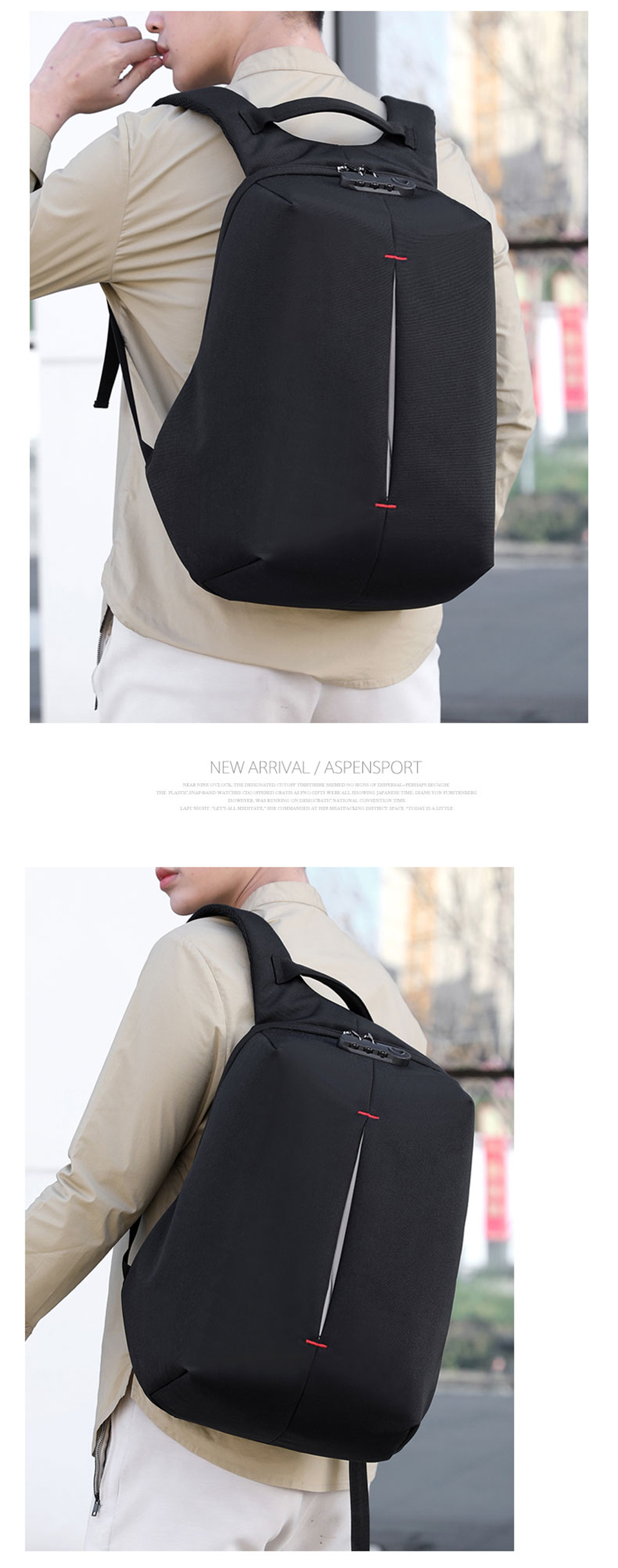 Laptop Backpack 15.6 Inch Notebook Back Pack Anti Theft Business Men Travel Bags Waterproof Male USB Charging Student Bagpack (10)