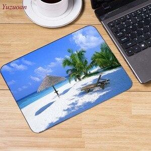 Image 2 - Yuzuoan plaj deniz palmiye manzara büyük promosyon rusya bilgisayar oyunu fare pedi Mousepads masanızda süslemek için kaymaz lastik pedi